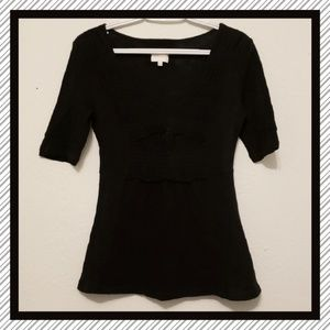 Anthropologie Black Vneck Top